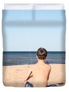 Boy At The Beach Flying A Kite Duvet Cover by Edward Fielding