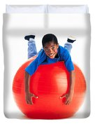 Boy Balancing On Exercise Ball Duvet Cover by Ron Nickel