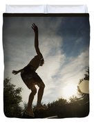 Boy Jumping Off Diving Board Duvet Cover