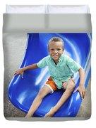 Boy On Slide Duvet Cover by Kicka Witte