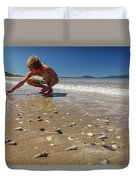 Boy Picking Seashells On The East Coast Duvet Cover