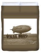Boy Scouts And Goodyear Blimp Guarding Graf Zeppelin Los Angeles Airport Aug. 26 1929 Duvet Cover