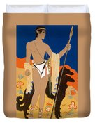 Boy Warrior With Two Borzoi Hounds Duvet Cover