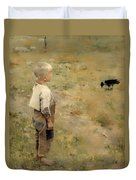 Boy With A Crow Duvet Cover
