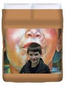 Boy With His Portrait Duvet Cover
