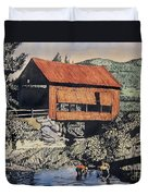 Boys And Covered Bridge Duvet Cover by Joseph Juvenal