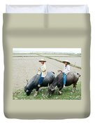 Boys On Water Buffalo In Countryside-vietnam Duvet Cover