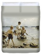 Boys Playing On The Shore Duvet Cover