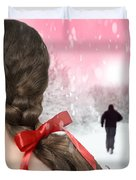 Braided Hair With Red Ribbon Duvet Cover