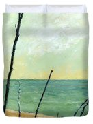 Branches On The Beach - Oil Duvet Cover by Michelle Calkins