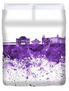 Bratislava Skyline In Purple Watercolor On White Background Duvet Cover
