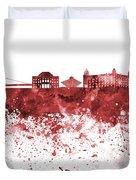 Bratislava Skyline In Red Watercolor On White Background Duvet Cover