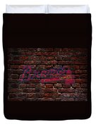 Braves Baseball Graffiti On Brick  Duvet Cover