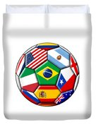 Brazil 2014 - Soccer With Various Flags Duvet Cover