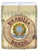 Brazil Coat Of Arms Duvet Cover by Debbie DeWitt