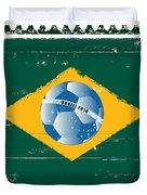 Brazil Flag Like Stamp In Grunge Style Duvet Cover