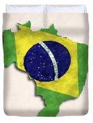 Brazil Map Art With Flag Design Duvet Cover