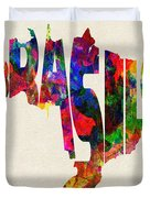 Brazil Typographic Watercolor Map Duvet Cover