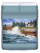 Breakers At Pemaquid Duvet Cover