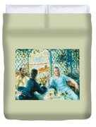 Breakfast By The River Duvet Cover by Pierre-Auguste Renoir