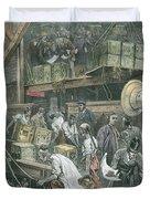 Breaking Bulk On Board A Tea Ship Duvet Cover