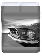 Breaking The Sound Barrier - Mach 1 428 Cobra Jet Mustang In Black And White Duvet Cover