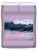 Breakwater Rocks At Sunset Beach Cape May Duvet Cover