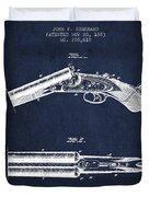 Breech Loading Gun Patent Drawing From 1883 - Navy Blue Duvet Cover