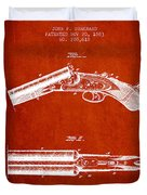 Breech Loading Gun Patent Drawing From 1883 - Red Duvet Cover