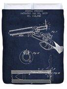 Breech Loading Shotgun Patent Drawing From 1879 - Navy Blue Duvet Cover