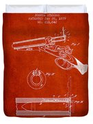 Breech Loading Shotgun Patent Drawing From 1879 - Red Duvet Cover