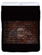 Brewers Baseball Graffiti On Brick  Duvet Cover
