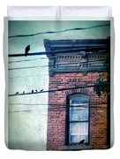 Brick Building Birds On Wires Duvet Cover