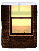 Brick Window Sea View Duvet Cover