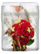 Bridal Bouquet With Red Roses Duvet Cover