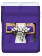 Bride And Bridesmaids With Wedding Bouquets Duvet Cover