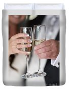 Bride And Groom Champagne Toast Duvet Cover