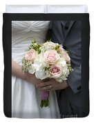 Bride And Groom Hold Wedding Bouquet Duvet Cover