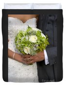 Bride And Groom With Wedding Bouquet Duvet Cover