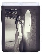 Bride At The Window. Black And White Duvet Cover