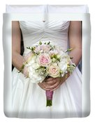 Bride Holding A Bouquet Of Wedding Flowers Duvet Cover