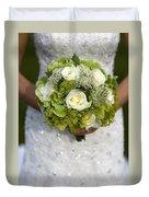 Bride Holding A Wedding Bouquet Duvet Cover