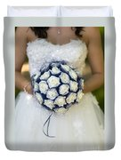 Bride With Flowers Duvet Cover
