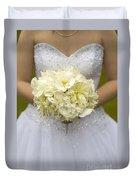 Bride With Wedding Bouquet Duvet Cover
