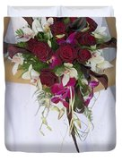 Brides Bouquet And Wedding Dress Duvet Cover