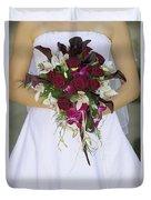 Brides Bouquet And Wedding Dress Duvet Cover