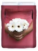 Bridesmaid Holding A Bouquet Of Berbera Duvet Cover