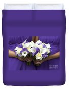 Bridesmaids With Wedding Bouquets Duvet Cover