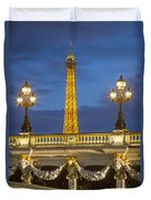 Bridge And Eiffel Duvet Cover