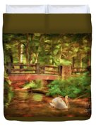 Bridge And Swan Duvet Cover